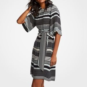 Ann Taylor Striped Tie Waist Shift Dress 8